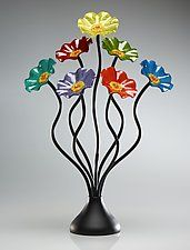 "Seven-Flower Rainbow Bouquet by Scott Johnson and Shawn Johnson (Art Glass Sculpture) (24"" x 18"")"