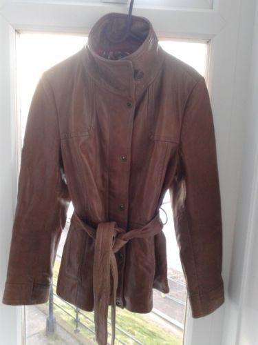 Gorgeous-caramel-leather-womens-jacket-size-10