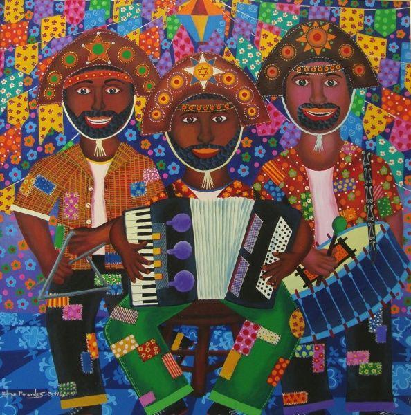 Edmar Fernandes - Quadro óleo sobre Tela Trio do Forró 100x100cm - 11289