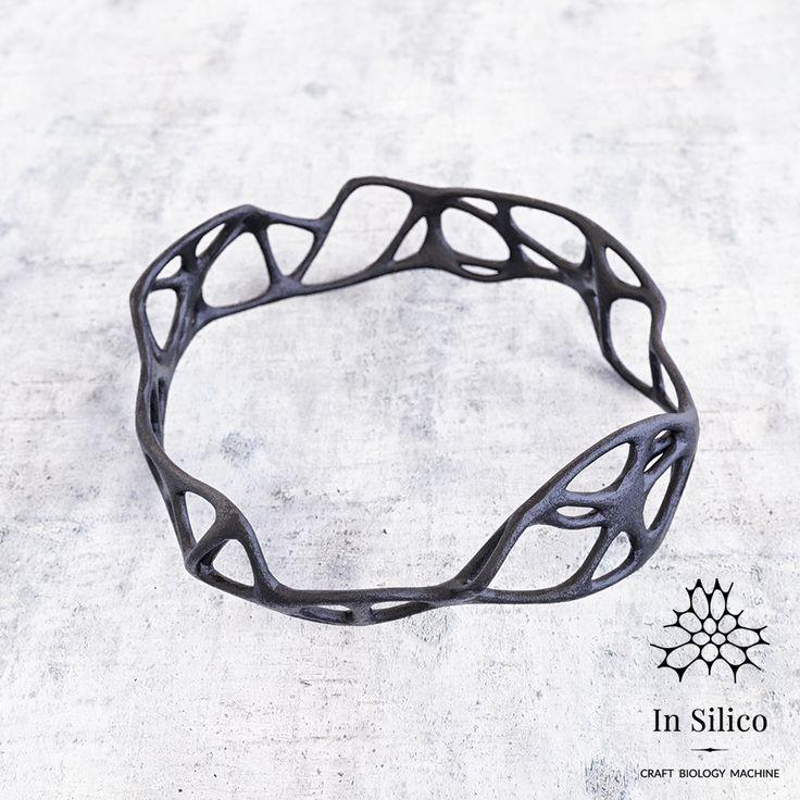 'Phenotype' bracelet. Bone structure inspiration, 3d printing, black steel. More info on our site: insilico.pl #minimal #3dprint #jewelry #generativedesign #design #bracelet