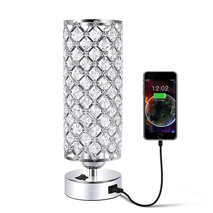 Usb Crystal Table Desk Lamp With Usb Port Acaxin Elegant Bedside