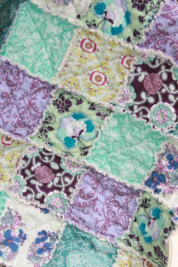 Baby Girl Rag Quilt Purple Teal Aqua Nursery by justluved on Etsy