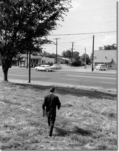 July 4, 1956 - When the train finally got near Memphis, Elvis asked to get off at a stop near the outskirts of town called White Station