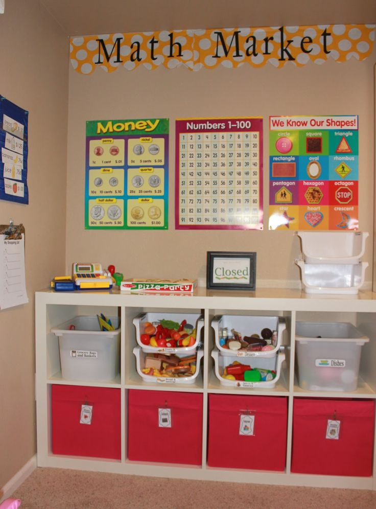 """Home school room: Achieving Creative Order: Project Playroom: Market LOVE this. and super love the """"closed"""" sign :)"""