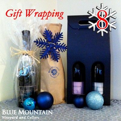 12 DAYS OF CHRISTMAS - Day 8: Gift Wrapping.... Blue Mountain tote bag!  A of bottle of wine (or sparkling wine) is always welcome, whether for the hostess, for your secret Santa or for under the Christmas tree. Make it extra special by choosing a creative way of wrapping the bottle of wine. Check out our Pinterest page - we've created a Pinterest board with some inspiration: http://bit.ly/1s4Ohlh.