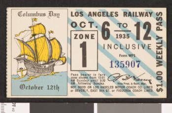 Los Angeles Railway weekly pass, 1935-10-06 :: LA as Subject