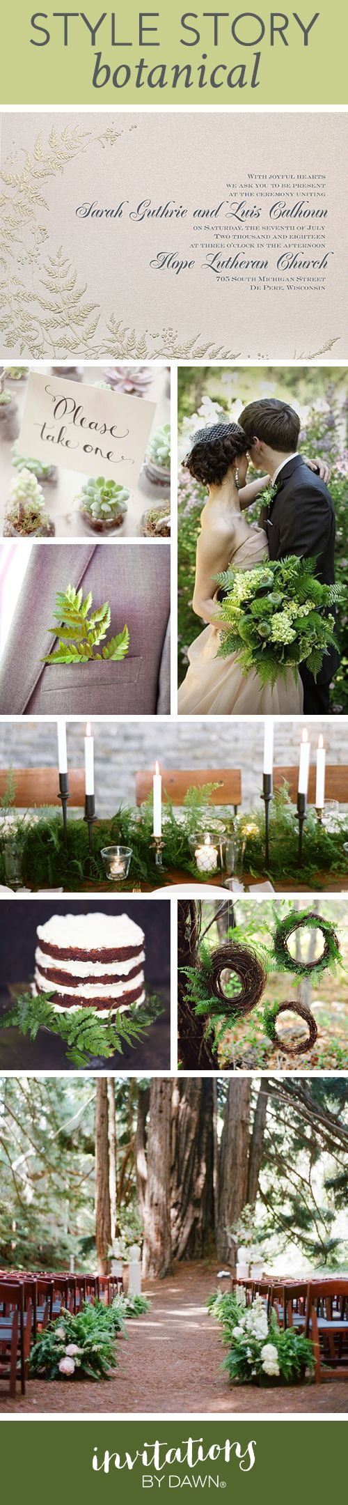 Wedding Style Story: Botanical Ferns #rusticwedding #loveyourinvites