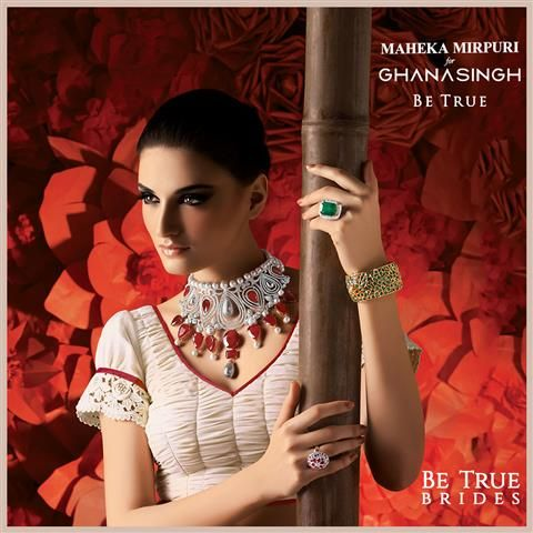 Colour is DAZZLING: Coloured gemstones in jewellery is one of the latest trends of bridal vibrancy. #BeTrueBrides with Maheka Mirpuri for Ghanasingh Be True