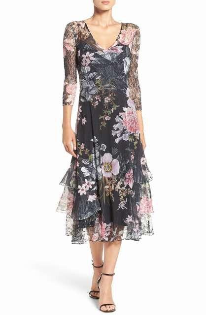 867aa06203f Chiffon   Lace A-Line Dress - Komarov Wedding-Guest Dresses - Sheer  Three-Quarter Sleeves Wedding-Guest Dresses Designer Dresses Warehouse  Online USA