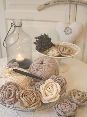 crocheted roses - My Country Cottage Garden