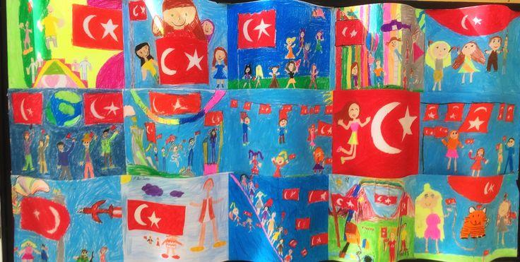 Öğrencilerin Cumhuriyet Bayram'ı temalı resim çalışmaları