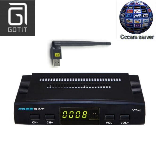 Freesat V7 DVB-S2 Satellite TV Récepteur avec 1 Année Europe CCCAM 3 Clines et 1 USB WIF Dispositif Set Top Box DVB-S2