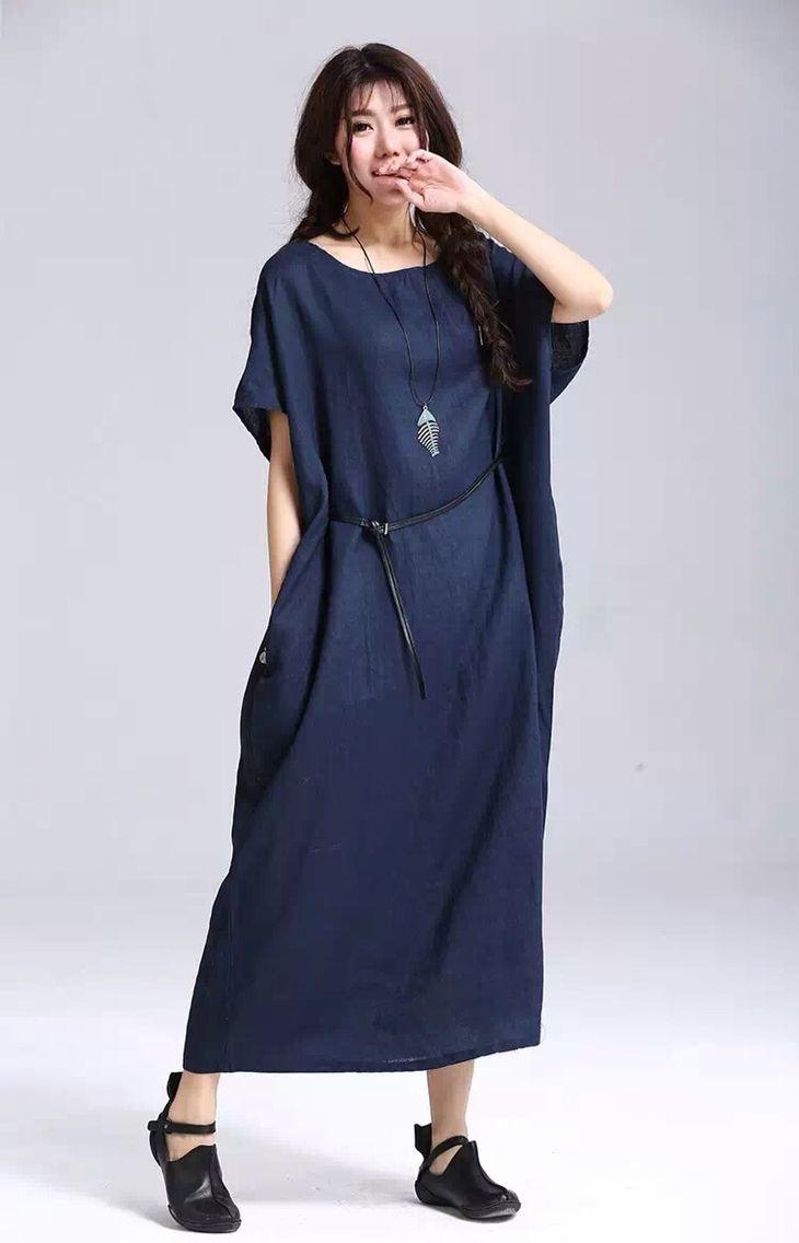 Blue cotton linen long dress