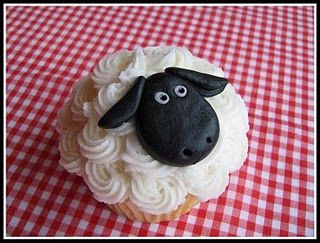From Fowl Single File. I just can't resist a sheep cupcake. It almost doesn't matter what it tastes like!