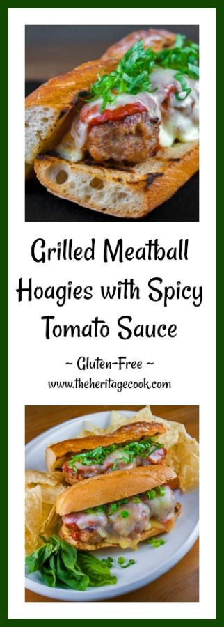 With a touch of smokiness from the BBQ, these Grilled Meatball Hoagies with Spicy Tomato Sauce are perfect any time of the year! Break out the grill, it's time to make these sandwiches! Thanks so much for sharing and visiting The Heritage Cook! #bbq  #meatballs #kidfriendly