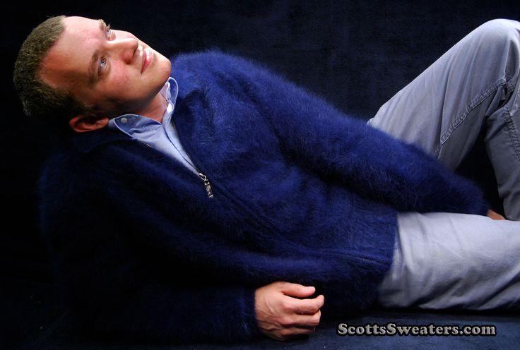 Men's mink-cashmere zipper-front poloneck cardigan sweater: