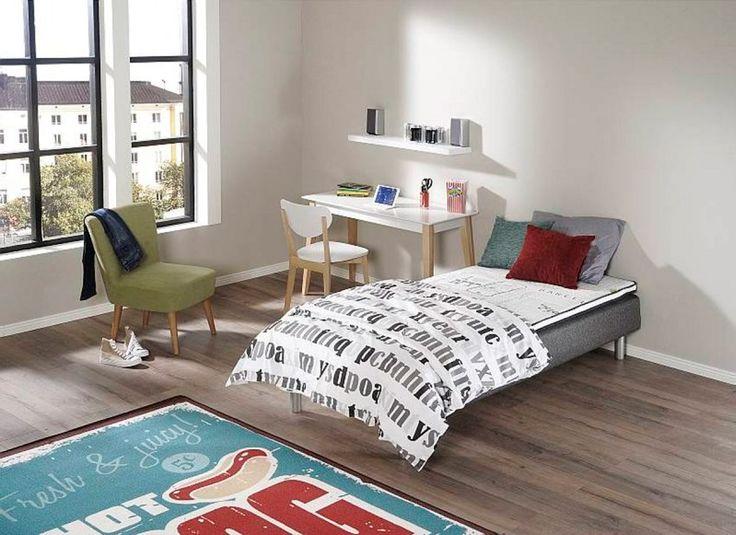 Wilma 90x200 joustinsänkypaketti, Jade -työpöytä ja tuoli, Jazz -seinähylly, Lara -lepotuoli, Hot dog -matto. www.sotka.fi