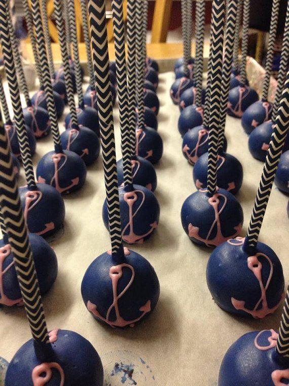 Nautical Wedding Cake Pops by amysapples on Etsy - Maybe for our Jack and Jill Party?
