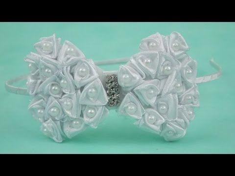 Tiara com laço e capitonê de fita de cetim Diy\ Tiara with lace and satin ribbon Capitone - YouTube