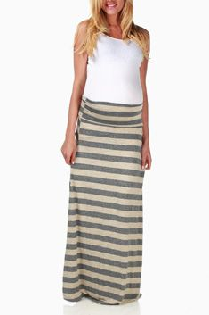 Beige Charcoal Maternity Maxi Skirt #maternity #fashion