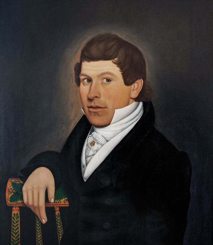 Attributed to Lyman Parks (1782-1872) aka the Wilkinson Limner, Portrait of Asa Gilmore (born Weston, Windsor, Vt., 1802–died Tecumseh, Mich., 1874), 1825.