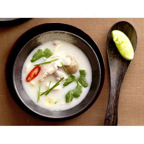 Tom ka gai recipe. Tom ka gai, a spicy and sour hot soup with coconut milk in Thai cuisine and Lao cuisine.  #Thai #Coconut #Soup #Dinner