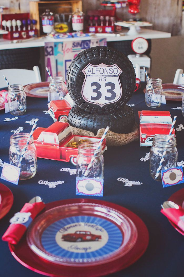 Vintage Car Themed Birthday Party Place Setting Ideas