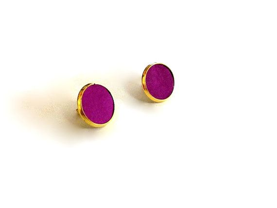 Gold post earrings with magenta leather named Lora by korinahj