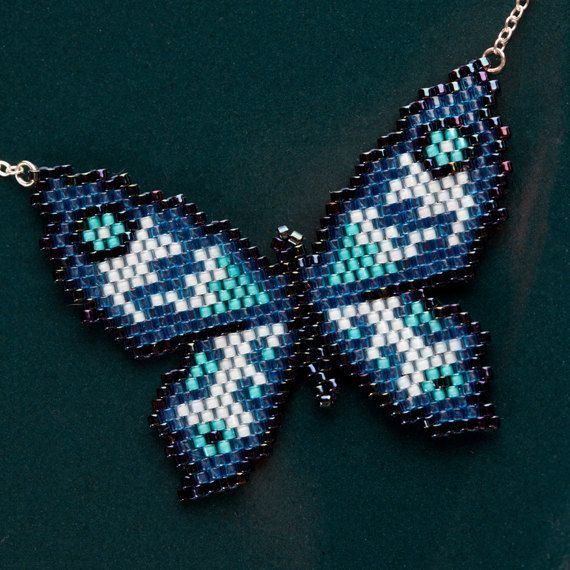 Blue butterfly necklace Pretty handwoven beaded by MaisonVees, £27.00