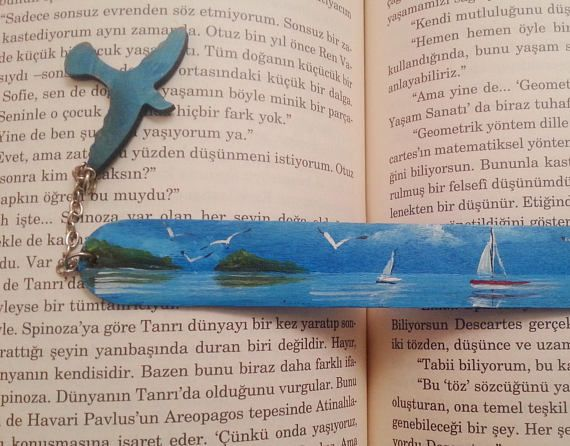 Hand painted bookmark Sea painting bookmarks Wood painted