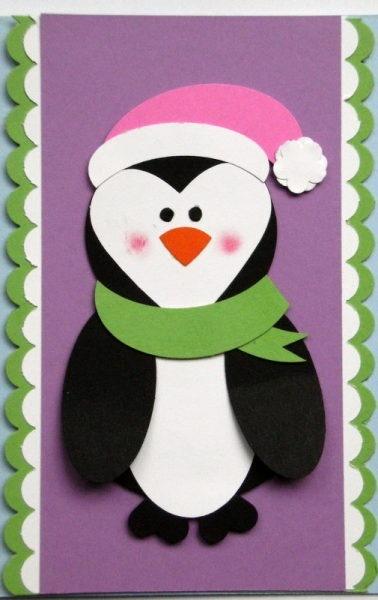 Пингвин на открытке, военного солдата смешной