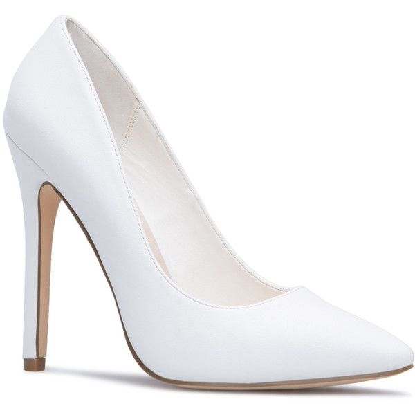 ShoeDazzle Pumps Elizabeth Womens White ❤ liked on Polyvore featuring shoes, pumps, white, pointy toe shoes, patterned shoes, pointy-toe pumps, white court shoes and print pumps