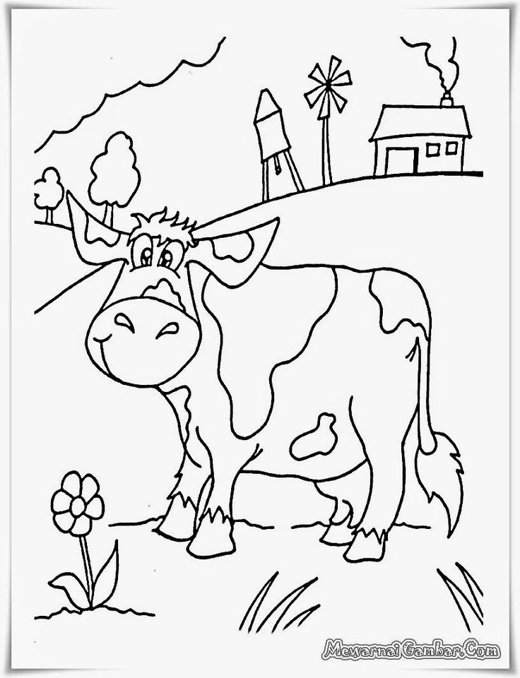 buku mewarnai gambar pemandangan peternakan sapi dipedesaan