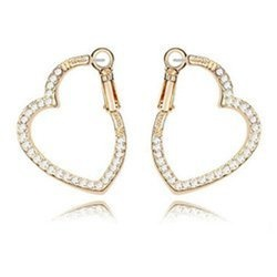 Golden Love Heart Fashion White Rhinestone Hoop Earrings Contempo Culture