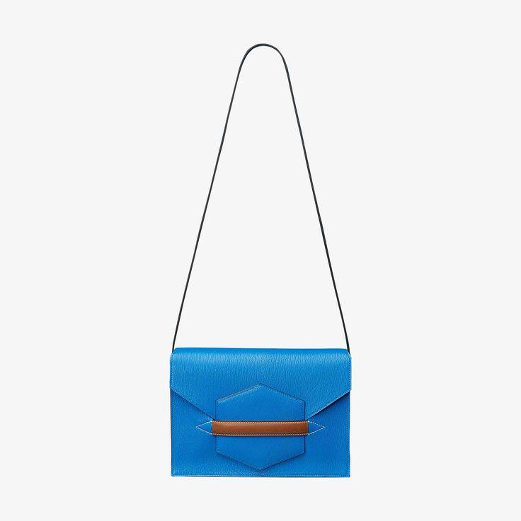 Hermes bag in Mysore goatskin and Barenia leather Palladium plated hardware Can be worn as either a handbag orclutch. Blue Zanzibar/ Fauve