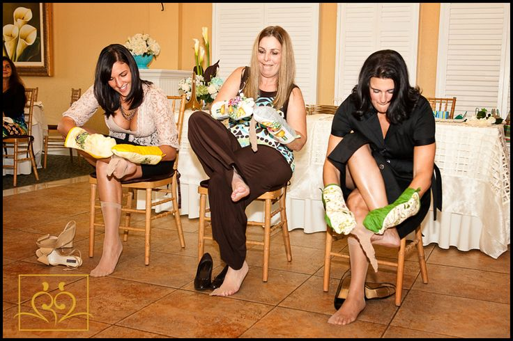 kitchen theme bridal shower game. see who can put stockings on the fastest while wearing oven mitts.