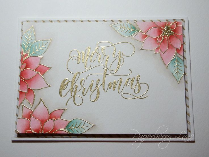 handmade Christmas card from Paperberry Lane  ... gold emboss sentiment in wonderful script ... poinsettias in the corners ...
