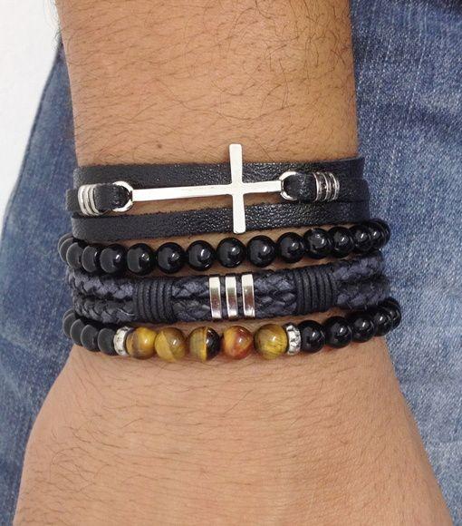Kit de pulseiras masculinas. Visite: www.elo7.com.br/ovniacessorios > Mens bracelets pulseirismo acessórios masculinos moda fashion style pulseira couro olho tigre onix ônix onyx crucifixo cross