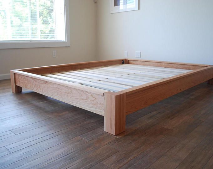 Oak Simple Bed Platform Bed Frame Solid Oak Hardwoods Slats