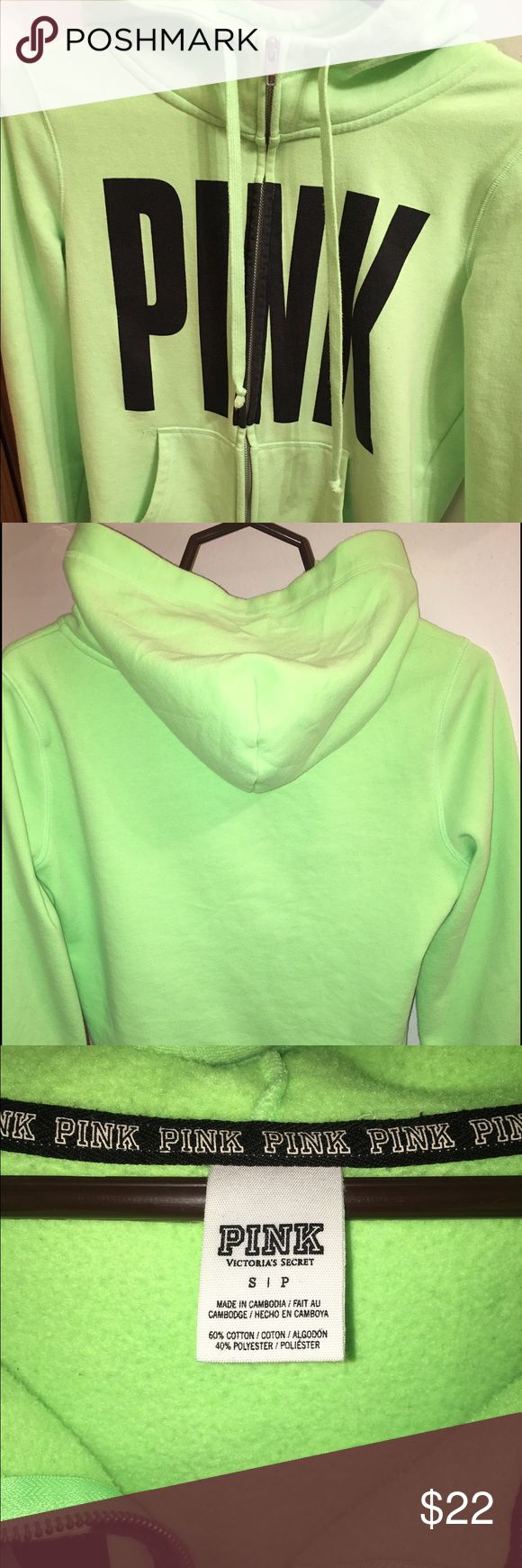 ✨PINK VS Lime Green Zip Up Hoodie size Small ✨PINK VS Lime Green Zip Up Hoodie Size Small No stains, in good condition PINK Victoria's Secret Tops Sweatshirts & Hoodies