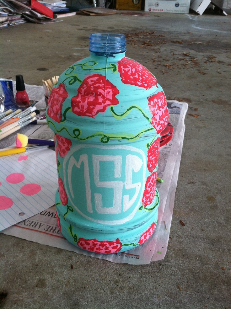 Diy Painted Cooler : Oh i never thought about painting my jug not a lilly