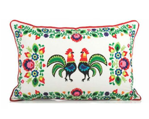 Karma Living Embroidered Rooster Rectangular Pillow