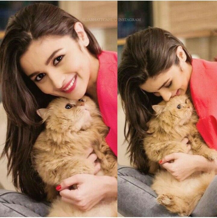 Alia with a cute cat! They look so cute together!! ღFollow •Bollywood Freak• ツ for more Bollywood posts! ღ