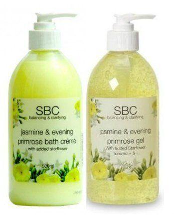 SBC Jasmine & Evening Primrose Oil Duo: Skincare Gel & Bath Creme/Cream 500ml