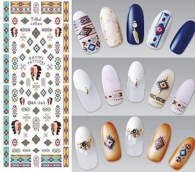 Fashion Indian Native Pattern Ethnic Feather Water Nail Art Stickers Decals Tips | eBay
