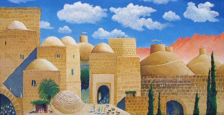 Darius Gilmont, Succot in Ancient Jerusalem, Oil on Canvas, 20cm x 40cm