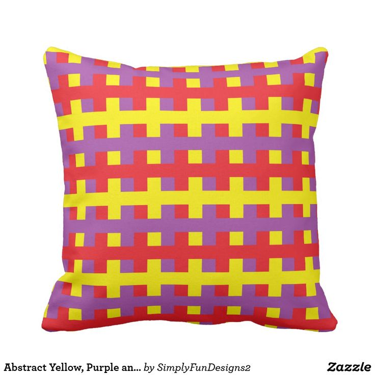 Abstract Yellow, Purple and Red Throw Pillow #pillow #throwpillow #decorative #homedecor #interiordesign