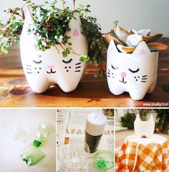 Plastic Bottle Cat Planters