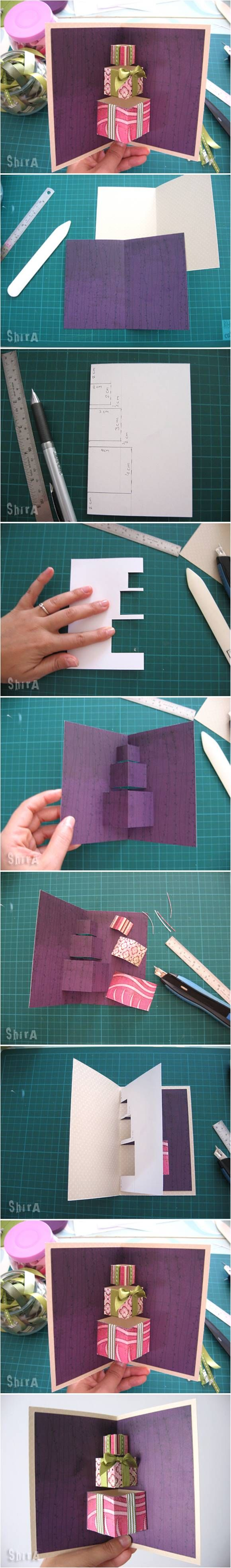 How to DIY 3D Gift Box Pop-up Card #craft #greeting_card