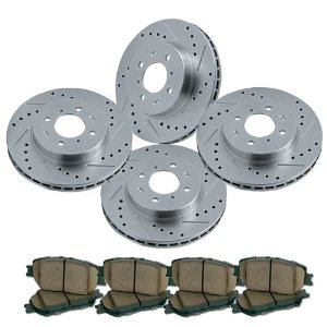 Cross drilled and slotted front and rear brake rotors for Mercedes benz rotors and pads